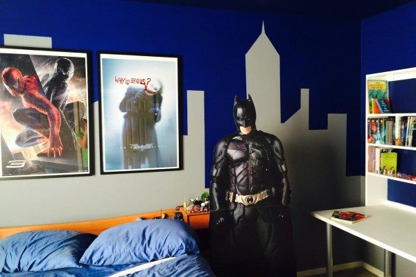 The Caped Crusader cleans his room