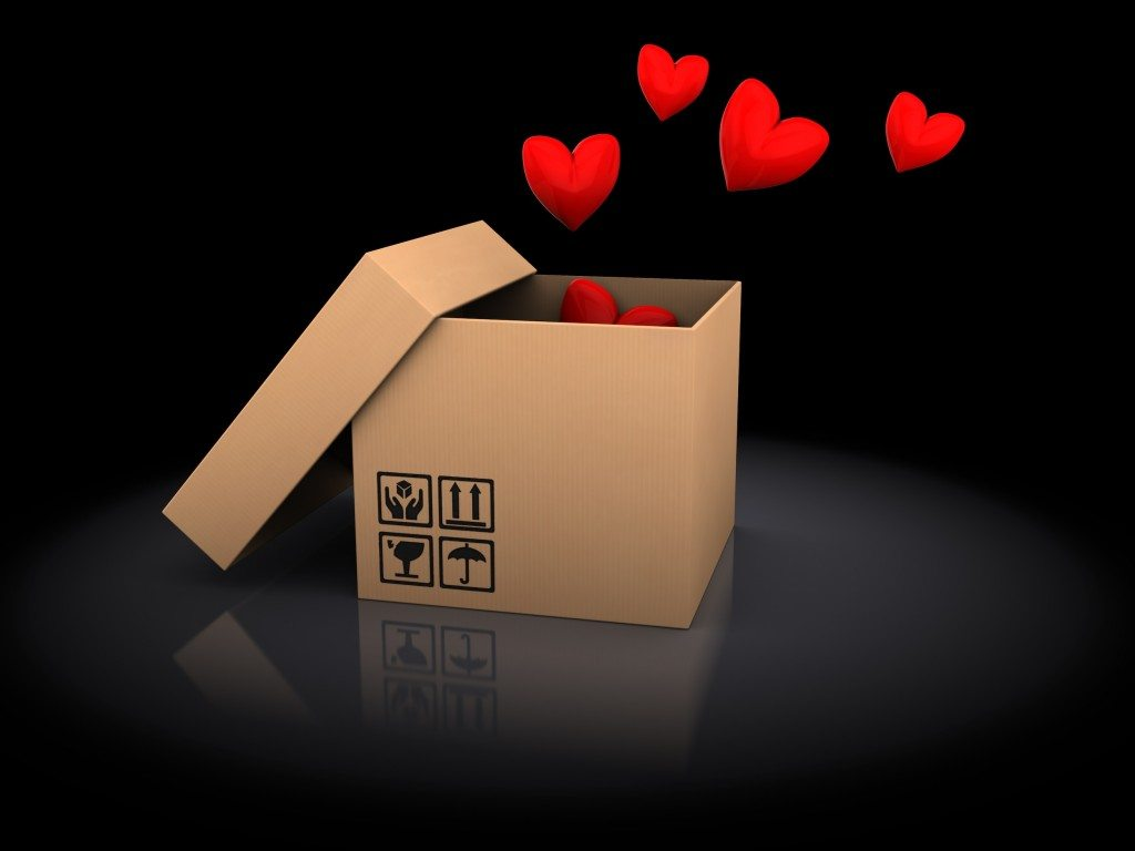 box with hearts