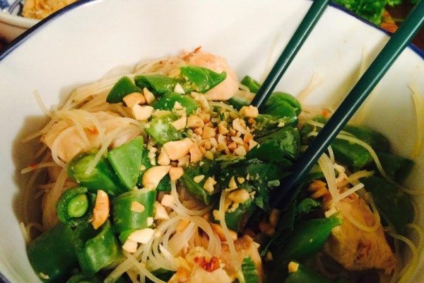 Peanutty Thai Noodles with Chicken and Sugar Snap Peas
