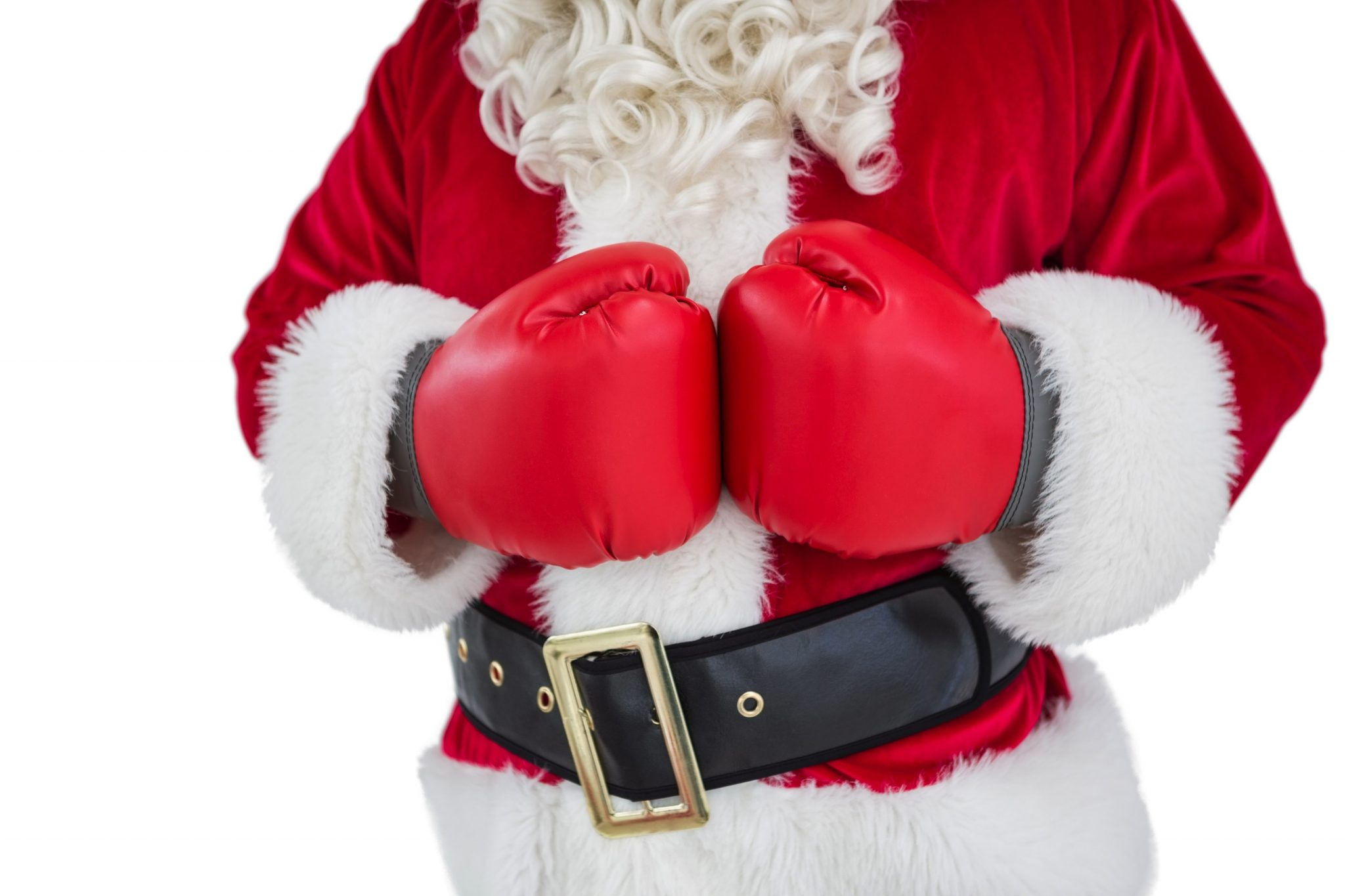 Mid section of santa with boxing gloves